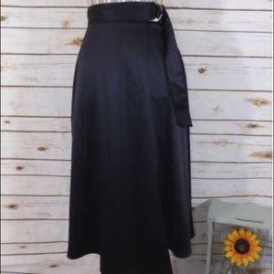 NWOT H&M Faux Satin Navy Midi Skirt